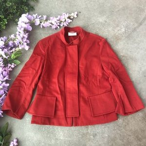 AKRIS PUNTO WOOL ANGORA BLEND JACKET RED SZ 4